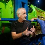 James Cameron beside his custom-built submersible, Deepsea Challenger. Photograph by Mark Thiessen, National Geographic.