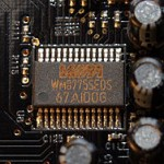 4-channel stereo multiplexed analog-to-digital converter WM8775SEDS made by Wolfson Microelectronics placed on an X-Fi Fatal1ty Pro sound card. Wikipedia Image.