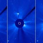 Comet ISON appears as a white smear heading up and away from the sun on Thursday, November 28. Scientists initially thought the comet had been disintegrated by the sun, but images suggest a small nucleus may still be intact. Image: CNN